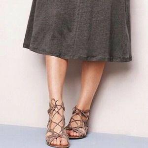 Gentle Souls Graphite Leather Gladiator Sandals 9